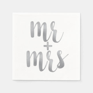 Silver mr. & mrs. cocktail napkins disposable napkins