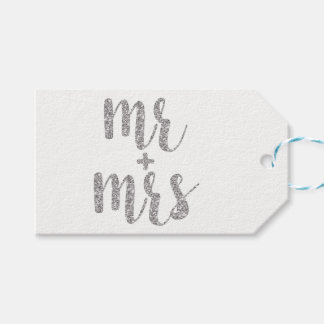 Silver Mr. & Mrs. favor tags, glitter, horizontal Gift Tags