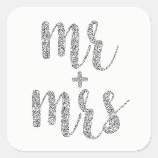 Silver Mr. & Mrs. stickers, square Square Sticker