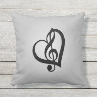 Silver Music Design Heart Throw Pillow