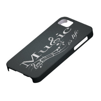 Silver Music is Life with Metal Mesh iPhone 5 Case