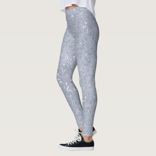Silver Music Notes and Clefs Pattern Leggings