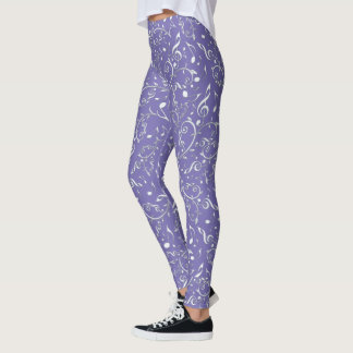 Silver Music Notes Floral On Purple Leggings