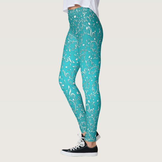 Silver Music Notes On Teal Green Leggings