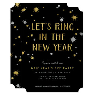 Silver n Gold Starburst New Year Party Invitation