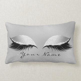 Silver Name Princess Beauty Lashes Glitter Makeup Lumbar Pillow