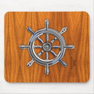 Silver Nautical Wheel on Teak Veneer Print Mouse Pad