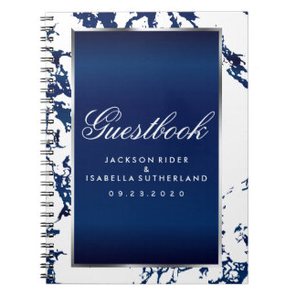 Silver, Navy Blue Marble & White  - Guestbook Notebook