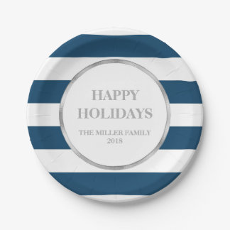 Silver Navy Blue Stripes Happy Holidays Christmas Paper Plate