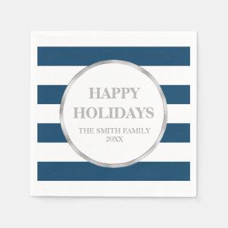 Silver Navy Blue Stripes Modern Christmas Napkin Paper Napkins