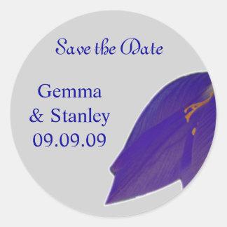 Silver & Navy Flower Save the Date Sticker