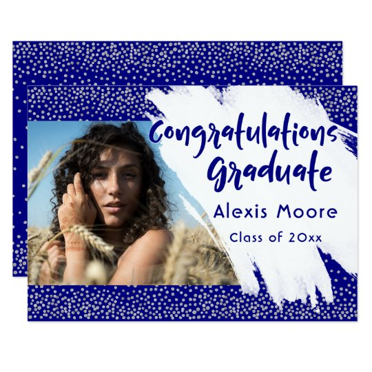 Silver & Navy Graduation Announcement w/ Picture