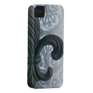 """""""silver/navy"""" iron fleur de lis iPhone4 ID case"""