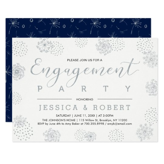 Silver & Navy   Simple Modern Engagement Party Card