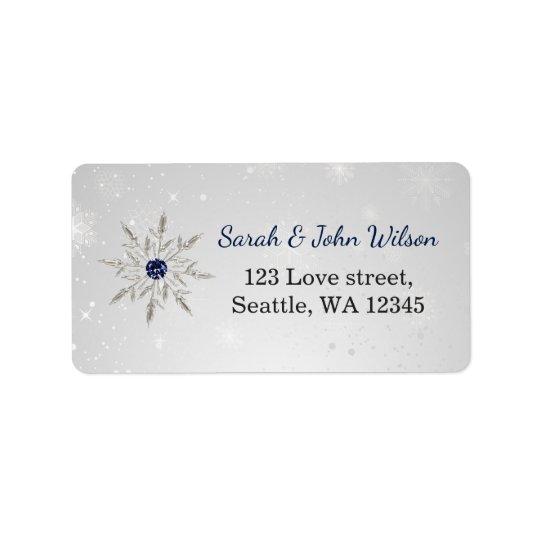 silver navy snowflakes return address label