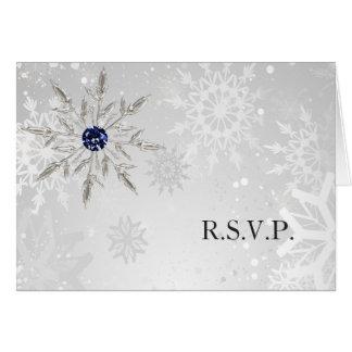 silver navy snowflakes winter wedding rsvp card