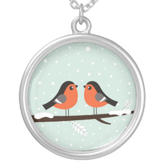 Silver Necklace with 2 love birds