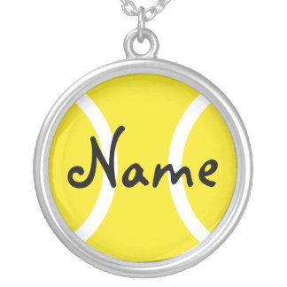 Silver necklace with tennis ball Personalize name