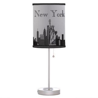 Silver New York City Skyline Silhouette Lamp