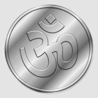 Silver Om Sign Classic Round Sticker