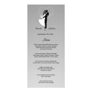 Silver Ombre Customizable Wedding Menu Card Full Color Rack Card