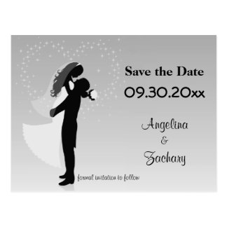 Silver Ombre Save The Date Wedding Post Card