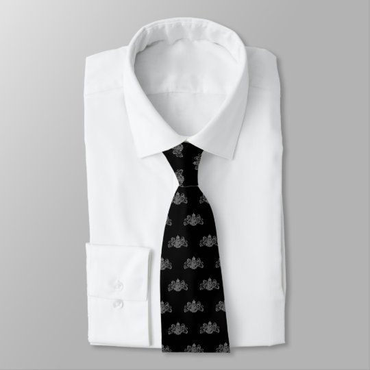 Silver On Black Lion Unicorn Emblem Tuxedo Tie