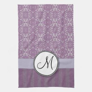 Silver on Lavender Damask with Stripes & Monogram Kitchen Towel