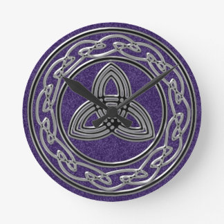 Silver on Purple Celtic Wheel and Trinity Clock