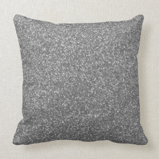 Silver or Grey Faux Glitter Girly Pillow