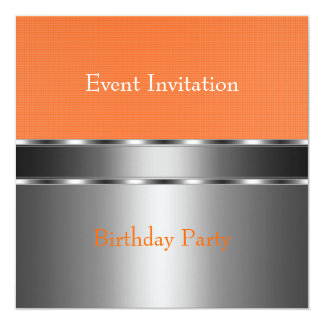 Silver Orange Check Event Party Card