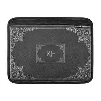 Silver Ornamental on Black with Initials MacBook Sleeve