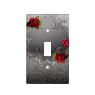 Silver Ornamental Vintage Fancy Red Roses Light Switch Cover