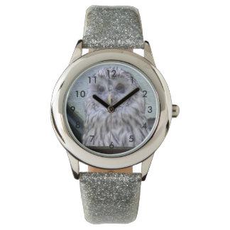Silver owl, child clock with glitter bracelet wrist watch