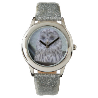 Silver owl, child clock with silver clock volume wristwatch