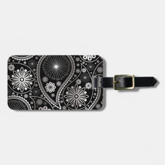 Silver paisley pattern luggage tag