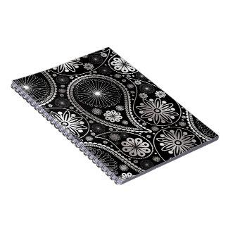 Silver paisley pattern notebooks