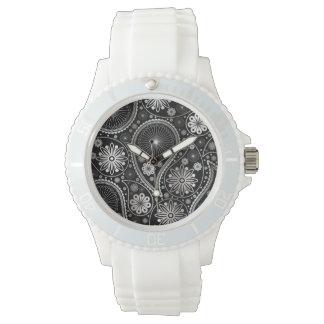 Silver paisley pattern watch