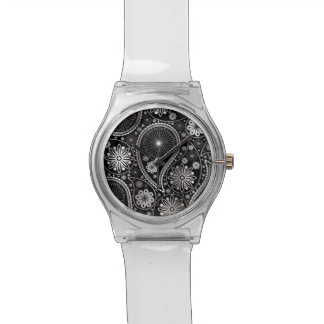 Silver paisley pattern wristwatch