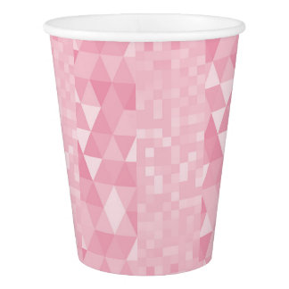 Silver Pastel Pink Geometric Diamond Squares Paper Cup