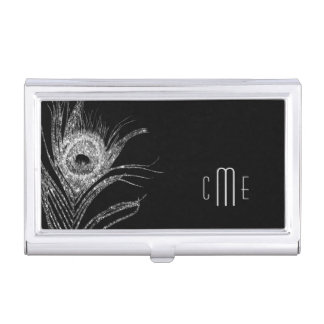 Silver Peacock Feather Monogram Business Card Holder