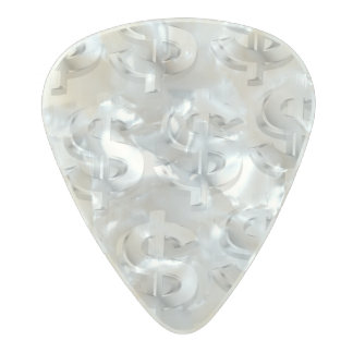 $ Silver $ Pearl Celluloid Guitar Pick
