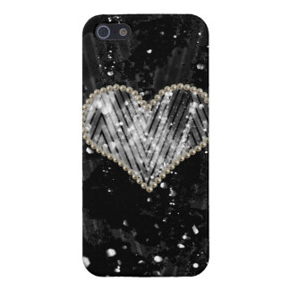 Silver Pearl Heart Cases For iPhone 5