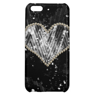 Silver Pearl Heart Case For iPhone 5C