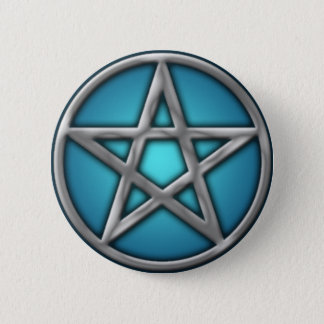 Silver Pentacle on Water 2 Inch Round Button