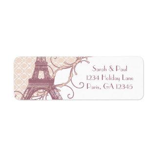 Silver Peony Damask Mauve Vintage Eiffel Tower Return Address Label