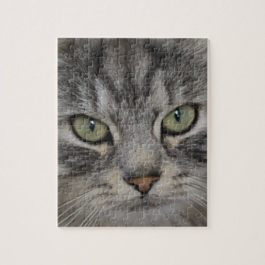 Silver Persian Cat Face Jigsaw Puzzle