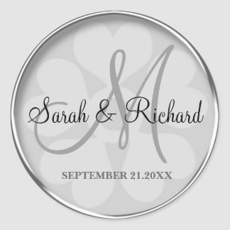 Silver Personalized Monogrammed Wedding Seal Round Sticker