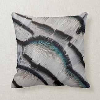 Silver Pheasant Feather Design Throw Pillow