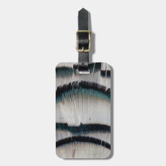 Silver Pheasant feathers Luggage Tag